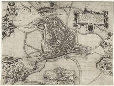 Pieter van der Keere   's-Hertogenbosch tevergeefs belegerd door Maurits, 1603, Pieter van der Keere, 1603 - 1605   's-Hertogenbosch tevergeefs belegerd door Maurits, 18 augustus-september 1603. Kaart van 's-Hertogenbosch en het omliggende land met rechts het legerkamp van het Staatse leger onder Maurits. Links het kwartier van de vijand. Rechtsboven een versierde cartouche met opschrift in het Latijn en het wapen van Den Bosch, onderaan een inzet met een kaartje van het groter gebied.