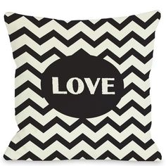 Love Chevron Throw Pillow