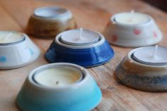 6 x dark blue Hand-thrown Ceramic Tea Light by TheVillagePottery