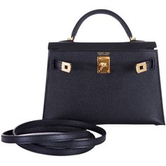 Pre-Owned Hermes Kelly 20cm Black Epsom Gold Hardware (726,225 THB) ❤ liked on Polyvore featuring bags, handbags, black, genuine leather crossbody handbags, leather crossbody, real leather handbags, crossbody purses and preowned handbags