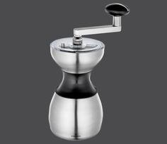Zassenhaus Serie Caracas  Edelstahl / Acryl Hand-Kaffeemühle mit Qualitäts-Mahlwerk aus Hochleistungskeramik, mit praktischer, stufenloser Grob-/Feineinstellung Höhe: 22 cm Durchmesser: 10,5