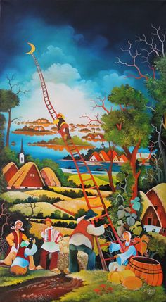 Jan Glozik naive art paintings Kovacica Serbia