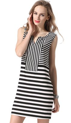 Sleeveless V Neck Striped Casual Mini Dress Simple Dresses, Day Dresses, Cute Dresses, Casual Dresses, Short Dresses, Fashion Dresses, Stripped Dress, Mode Hijab, Striped Fabrics
