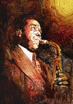 """""""Charlie Parker"""" Jazz - mixed media - 14x28 inches - Original art by Marcelo Neira"""