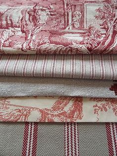 French vintage new linen Mankin ticking toile de jouy fabric bundle Shabby Chic Bedrooms, Shabby Chic Decor, Shabby Vintage, French Vintage, Textiles, Toile Bedding, Bedding Sets, Linen Duvet, Monday Inspiration