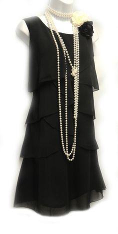 Rosa Rosa Vtg 1920's Black Gatsby Downton Charleston Chiffon Flapper Dress UK 14 #RosaRosa