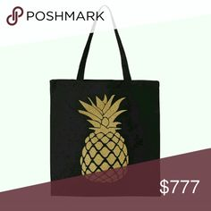 Black canvas golden pineapple tote Black canvas gold pineapple tote.  14.5 X 15.5 22 inch handle 100% cotton canvas Salt Lake Clothing Co. Salt Lake Clothing Bags Totes