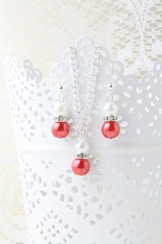 Coral bridesmaid jewelry set coral and white by BijouxKarmaJewelry, $17.00