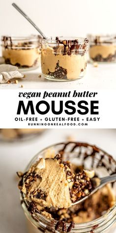 healthy vegan peanut butter mousse dessert #glutenfree #healthydessert #easyrecipes