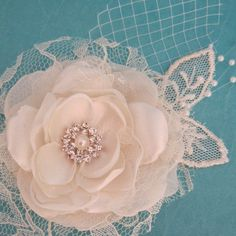 Keep it an idea for my hair Ivory+Lace+and+Tulle+Rose+Hair+Clip+A062+bridal+by+HARTfeltart,+$39.00
