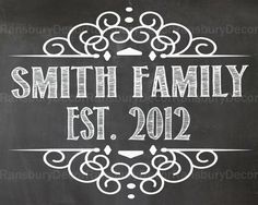 Family Chalkboard Sign - Digital Chalkboard - Printable Chalkboard - Established - Rustic - Home Decor - Wedding Photo Prop - Engagement Pictures Sign - by RansburyDecor, $5.00