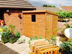 7x6 pent d tanalised wood garden shed