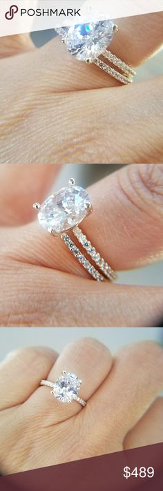 14k Solid Gold Engagement Ring 2pc set New 3ct Oval shape man made Diamond Engagement Ring with matching band. Available in white Gold and Yellow Gold  Available in sizes 4 5 6 7 8 9 10 Jewelry Rings