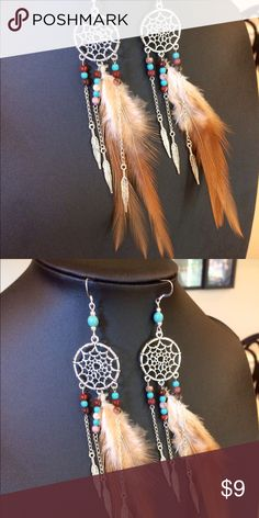Dream catcher feather dangle earrings These are made with 925 Sterling silver ear wires and have plastic earring stoppers. They hang 6 inches. Silver plated chain and antique silver   Nickel free.  Handmade by me. This is my bottom price Jewelry Earrings