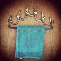 Horseshoe Towel holder Bathroom Towel decor by KadysKustomKrafts