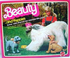 Barbie Afghan dog Beauty and puppies. I always liked the pets better than the Barbie. Barbie Dog, 1980s Barbie, Vintage Barbie Dolls, Vintage Toys, 1980s Toys, Retro Toys, Childhood Toys, Childhood Memories, Pink Dog Collars