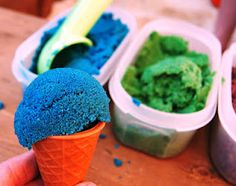A Little Learning For Two: Coloured Sand Ice Cream - Such an awesome idea :)