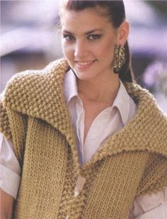 This Pin was discovered by Sus Knitting Paterns, Knitting Stitches, Baby Knitting, Granny Square Crochet Pattern, Sleeveless Jacket, Vest Pattern, Fair Isle Knitting, Crochet For Beginners, Sweater Fashion