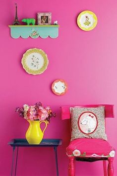 Eclectic Kids Bedroom with Purple Pumpkin Gifts Scalloped Wall Shelf, Le Creuset Stoneware Pitchers
