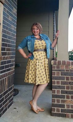 Effies Heart Jackie Dress in Bumblebee Print on Gwynnie Bee member Paddee
