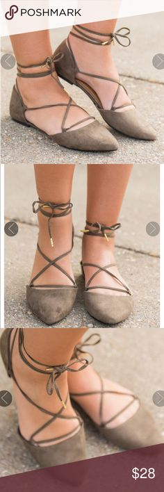 Khaki lace up pointy toe flats These lace up flats are so trendy! You are going to want in on this trend too! You have proven this to be true in several other colors so we know you are going to love these in olive green! They add so much style and flare to any outfit!  Adjustable: Yes  Main Color: Olive Shoes Flats & Loafers