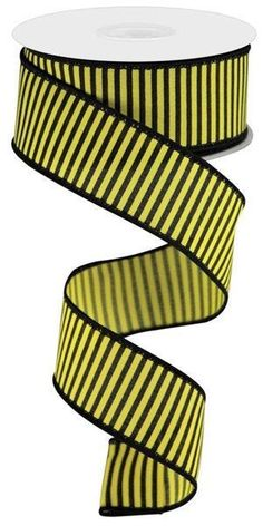 """Excited to share this item from my #etsy shop: Black yellow striped wired ribbon, 1.5"""" Yellow black stripe ribbon, black yellow horizontal thin stripe ribbon, bee ribbon, RGC119329 #yellow #hatmakinghaircrafts #canvas #black #waysidewhimsy #wreathsbyrobin Yellow Stripes, Black N Yellow, Fall Projects, Wired Ribbon, Hat Making, Ribbons, Craft Supplies, Bee"""