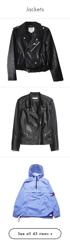 """""""Jackets"""" by southern-belle02 ❤ liked on Polyvore featuring outerwear, jackets, coats & jackets, real leather jackets, motorcycle jacket, fleece-lined jackets, leather moto jackets, leather motorcycle jacket, black and h&m"""