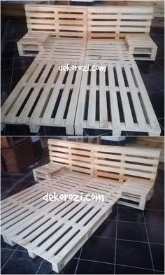 This is quite innovative crafted wood pallet bed which you would love to add it in your house. The images show that the crafting of the amazing bed with the wood pallet is durable and done on longer l Wood Pallet Beds, Pallet Bed Frames, Diy Pallet Bed, Diy Bed Frame, Diy Pallet Furniture, Wood Pallets, Pallet Ideas, Pallett Bed, Buy Pallets