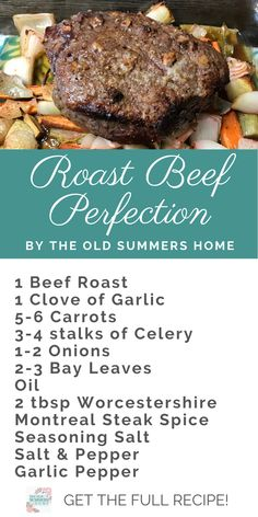 This easy roast beef recipe comes out perfect every time. If you love medium rare roast packed full of flavour our recipe is just what you are looking for. Cooked on a bed of roasted vegetables this o Cooking Roast In Oven, Chuck Roast Recipe Oven, Easy Roast Beef Recipe, Oven Roast Beef, Best Roast Beef, Roast Beef Recipes, Meat Recipes, Cooking Recipes, Roast In The Oven