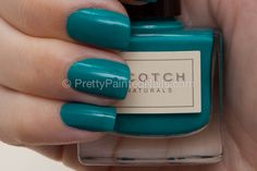 Scotch Naturals water based non toxic nail polish swatch in Loch Ness Mystery (teal). Detailed review at http://prettypaintednails.com/reviews/scotch-naturals-nail-polish-in-loch-ness-mystery/