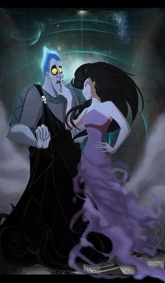 Hades and Eris (though Eris is from Dreamworks. they still go well together :] ) Walt Disney, Hades Disney, Evil Disney, Disney Magic, Disney Crossovers, Disney Villains, Disney Fan Art, Disney Love, Disney And Dreamworks