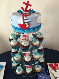 Ahoy it's a boy Cake and mini cup cakes...