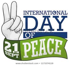 Hand doing the peace gesture and a green ribbon around it to celebrate International Peace Day this September. International Day Of Peace, Green Ribbon, September, Royalty Free Stock Photos, 21st