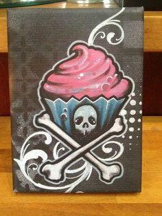 Cupcake And Crossbones Canvas Painting Print Tattoo Art Graffiti Art …