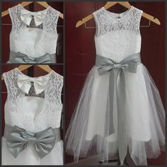 A Line Jewel Neckline Vintage Lace Flower Girl Dresses Tulle Little Girl Formal Wedding Party Gowns Silver Grey Sash And Bow Bridesmaid Dresses For Girls Burgundy Flower Girl Dresses From Sweetywedding88, $56.55  Dhgate.Com
