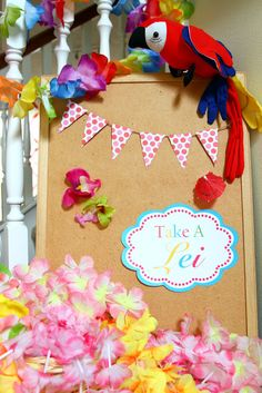 Take a Lei at a Hawaiian Luau Birthday Party!  See more party ideas at CatchMyParty.com!  #partyideas #hawaiian