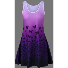 Plus Size Butterfly Print Ombre A Line  Tank Dress (60 RON) ❤ liked on Polyvore featuring dresses, plus size butterfly dress, tank top dress, purple dress, ombre tank dress and butterfly print dresses