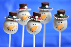Frosty The Snowman Sprinkled Hat Cake Pops