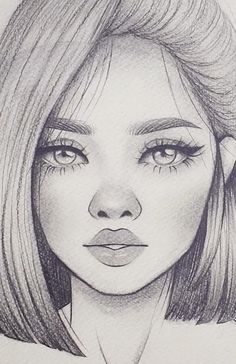 Girl Face Drawing, Girly Drawings, Art Drawings Sketches Simple, Pencil Art Drawings, Realistic Drawings, Cool Drawings, Sketch Drawing, Pencil Sketches Of Faces, Girl Pencil Drawing