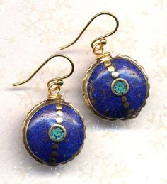 Nepal Earrings  Turquoise Lapis Lazuli Inlay 18K Gold by Annaart72