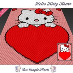 Hello Kitty Heart crochet blanket pattern; c2c, cross stitch; graph; pdf download; no written counts or row-by-row instructions by TwoMagicPixels, $3.99 USD