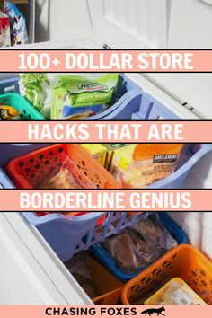 These 100+ life changing dollar store hacks are THE BEST! I'm so happy I found these AWESOME tips! Now I have great ways to decorate my home and keep it organized on a dime! Definitely pinning for later! #ChasingFoxes #DollarStore