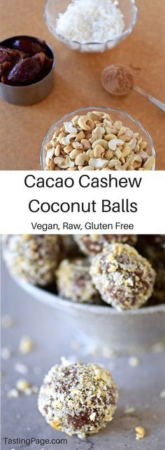 Raw Vegan Cacao Coconut Cashew Balls - these naturally sweet treats are gluten f. Raw Vegan Cacao Coconut Cashew Balls – these naturally sweet treats are gluten free, dairy free and free from refined sugar Desserts Crus, Desserts Sains, Raw Vegan Desserts, Raw Vegan Recipes, Vegan Treats, Gluten Free Desserts, Dairy Free Recipes, Paleo Vegan, Vegan Butter