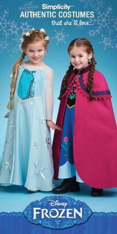 Sisters Anna and Elsa come to life in beautiful costumes sewn from this easy-to-use sewing pattern by Simplicity. Using the only sewing pattern officially licensed by Disney, it's now possible for your daughter to be her favorite princess.