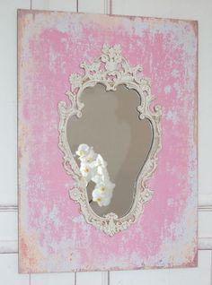 Zauberhafter Wandspiegel Spiegel in rosa/weiß Sha von Windschief Living auf DaWanda.com