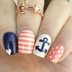 Anchor nails. Blue. Peach. Stripes. Nail art. Nail design. Cute. Polish. By nailstorming
