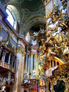 peter roman catholic church in vienna, austria † rococo architecture † baroque angels Architecture Tumblr, Architecture Baroque, Historical Architecture, Amazing Architecture, Interior Architecture, Rococo, Beautiful Buildings, Beautiful Places, Baroque Art