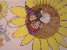 Big daisy with sleeping fairy, drawing