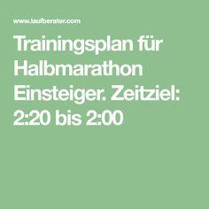 Trainingsplan für Halbmarathon Einsteiger. Zeitziel: 2:20 bis 2:00
