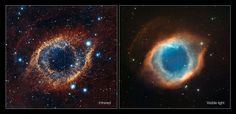 This comparison shows a new view of the Helix Nebula acquired with the VISTA telescope in infrared light (left) and the more familiar view in visible light from the MPG/ESO 2.2-metre telescope (right). The infrared vision of VISTA reveals strands of cold nebular gas that are mostly obscured in visible light images of the Helix.